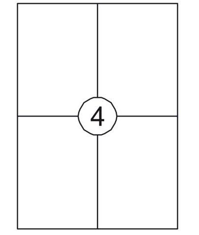 A4/4st etiket 105x148.5mm wit vellum, permenente belijming