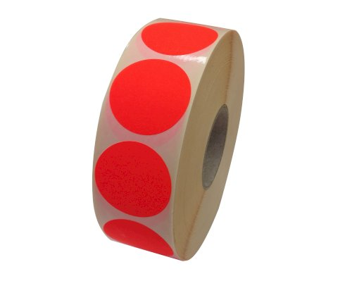 Etiket @35mm fluor rood permanent