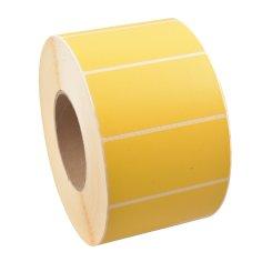 étiquettes jaune 96x48mm vélin thermofusible permanent, cœur 76mm, perforation