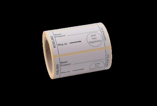 Etiket koeling 7 graden, 70x35mm wit/zwart, water oplosbare belijming