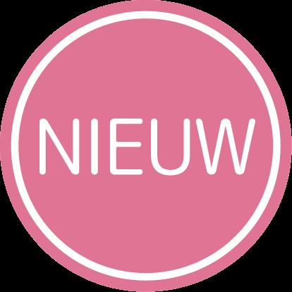 Etiketten @35mm roze-wit 'Nieuw'