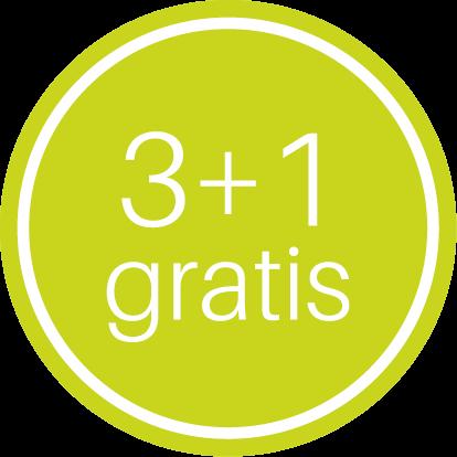 Etiketten @35mm groen-wit '3+1 gratis'