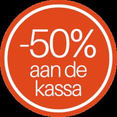 étiquettes @35mm orange-blanc '-50% aan de kassa'