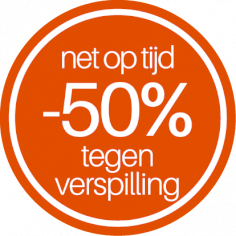 étiquettes @35mm orange-blanc 'Net op tijd -50% tegen verspilling'