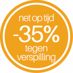 étiquettes @35mm jaune-blanc 'Net op tijd -35% tegen verspilling'