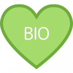 Etiketten @35mm groen-wit hart 'BIO'