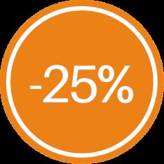 Etiket @35mm oranje-wit '-25%'