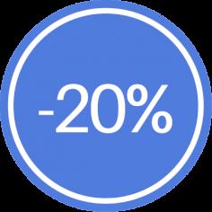 Etiketten @35mm paars-wit '20%'