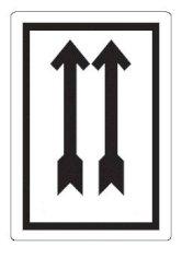 Gevaren etiket 10x7cm zwart 2 pijlen