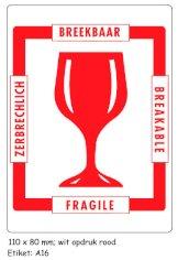 Gevaren etiket 10x7cm rood GLAS BREEKBAAR-FRAGILE-BREAKABLE