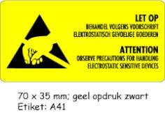 Gevaren etiket mat geel 7x3,5cm LET OP ATTENTION (zwart)