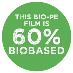 Etiketten @10cm 'this bio-PE film is 60% biobased'  tbv 110505+110507