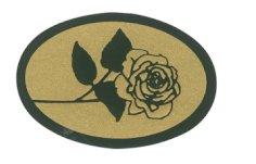 Etiket 37x25mm goud roos zwart