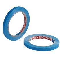 Vinyltape PVC 9mmx66mtr 59my blauw, solvent belijming, tesa 4204