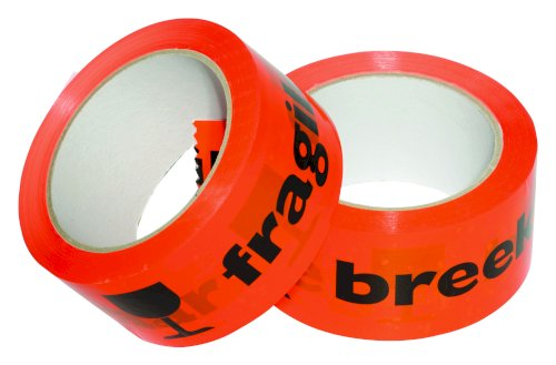 Tape 50mmx66mtr PP oranje/zwart BREEKBAAR/FRAGILE, low noise