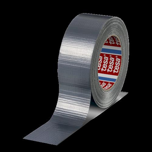 Duct-tape 48mmx50mtr zilver 180my solvent belijming, tesa 4613