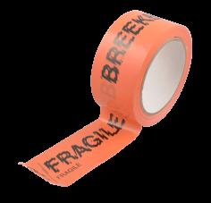 36 Rol. Klebeband PVC-U, 50 mm x 66 m, orangef. BREEKBAAR/FRAGILE schwarz