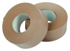 Plakband papier 70mmx200mtr 90grs, bruin, gegomd buitenzijde