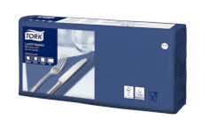 Servet 33x33cm 2-lgs donkerblauw 1/4-vouw Tork