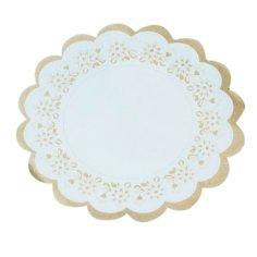 Taartrand rond @31cm goud/wit fleur, vetvrij