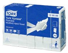 Serviettes à pliage décalé Tork Xpress Flushable HT Av Zmultifold 595x390x212mm blanc 2 épaisseurs