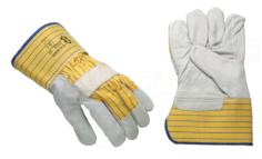 Werkhandschoenen boxleer gevoerd+ handpalm grijs-geel