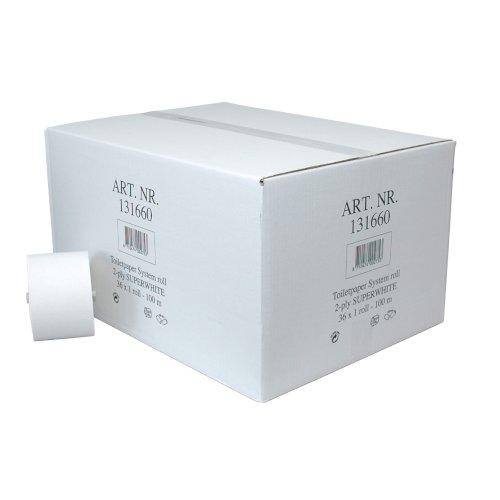 Toiletpapier met dop recycled 100mtr 2-lgs wit