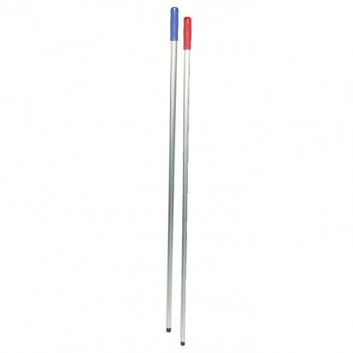 Steel alu 140cm met schroefdraad en blauwe handgreep