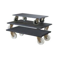 Meubelroller 80x48cm zwart/grijs rubberen wielen, draagkracht 250kg