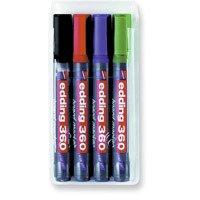 Klars. 4 Weißwandtafelmarker Edding 360 Sortiment Farben: grund, schwarz, blau, rot