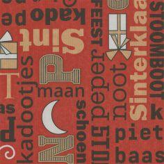 Sintpapier 50cm kraft zwart/rood teksten 70grs