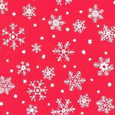 Kerstpapier rood sneeuwvl 50cm