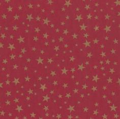 Kerstpapier 70cm kraft rood/goud sterren 70grs