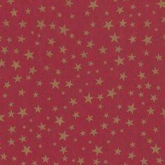 Kerstpapier 30cm kraft rood/goud sterren 70grs